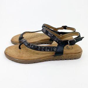 Black Rhinestone Thong Strap Flats Sandals